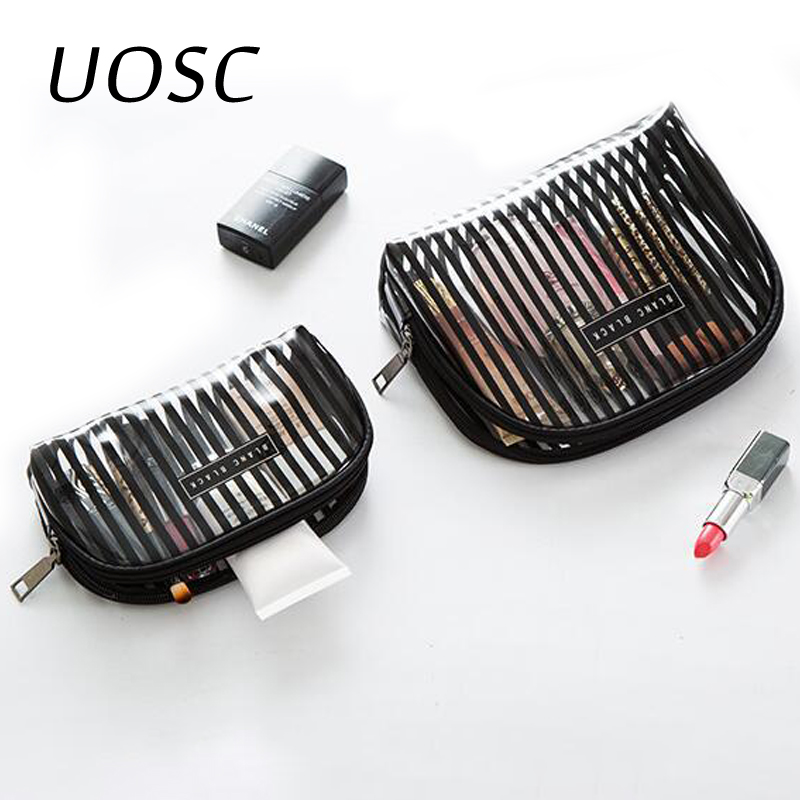 UOSC Transparent Striped Cosmetic Bag Clear Women Makeup Bag Travel Organizer Toiletry Kit Kosmetyczka For Dropshipping