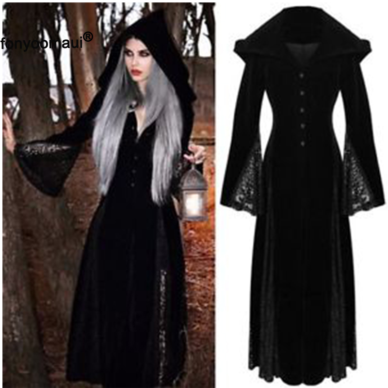 Robe Maxi-Dress Hooded-Gown Witch-Costume Halloween Adult Black Vintage Gothic Women title=