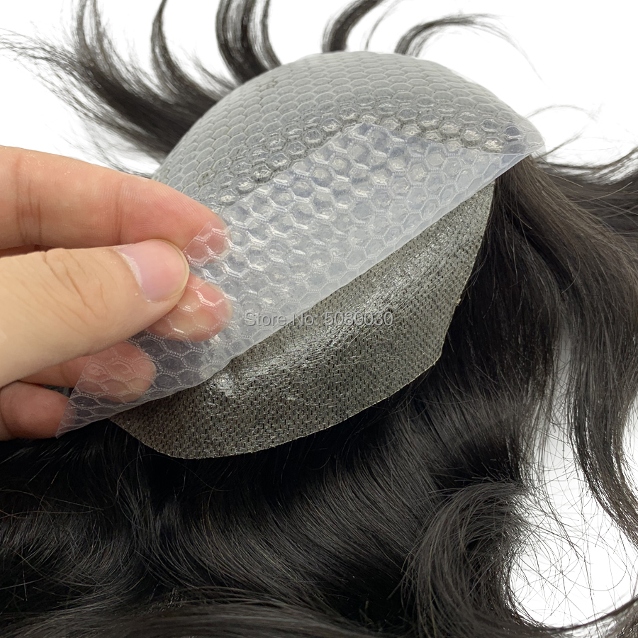 New Arrival PU Adhesive Base Simple To Use Looks Nautal Men Toupee In Stock