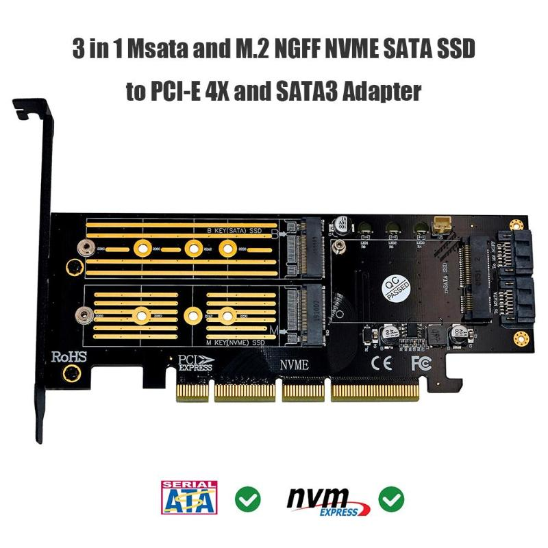 Newst 3 In 1 Msata PCIE M.2 NGFF NVME SATA SSD To PCI-E 4X SATA3 Apapter Computer Expansion Cards For 2280 2260 2242 2230mm