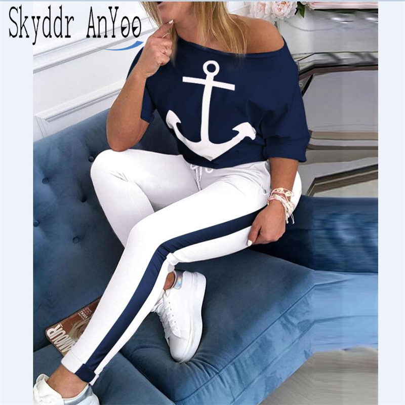 2 Piece Set Tracksuit Women Boat Anchor Print Two Piece Set Top And Pants Femme Clothes Elastic Waist Long Pants Set Lounge Wear