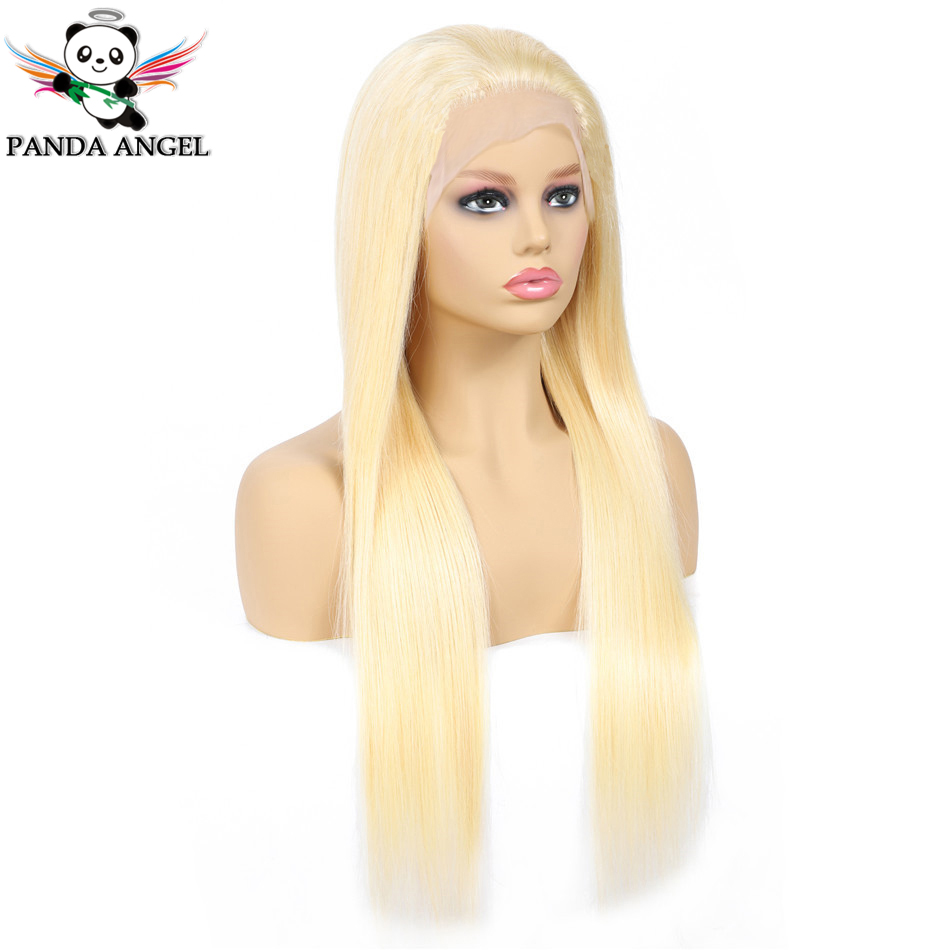 Panda #613 Blonde Lace Frontal Human Hair Wigs Brazilian Straight 13*4 Lace Frontal Wig Pre Plucked Honey Blonde Remy Lace Wigs-in Lace Front Wigs from Hair Extensions & Wigs