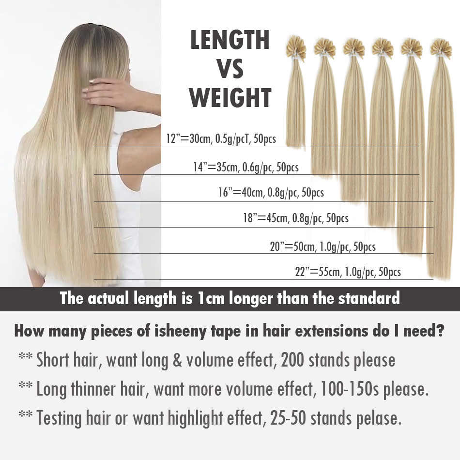 """Isheeny 6# 0.6g/s 0.8g/s 1g/s 12"""" 14"""" 18"""" 20"""" 22"""" 24"""" Real Remy Keratin U Tip Human Hair On Capsule Professional DIY Extensions"""
