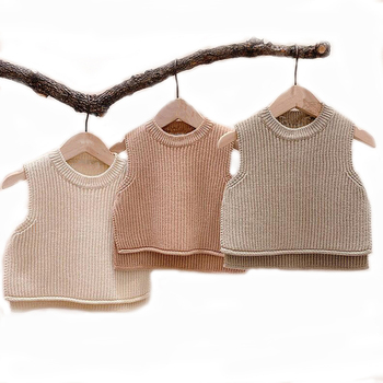 Baby Girls Sweaters Baby Girl Solid Sleeveless Pullover Vest Baby Boys Sweaters Knit Vest Kids Toddler Autumn Outerwear