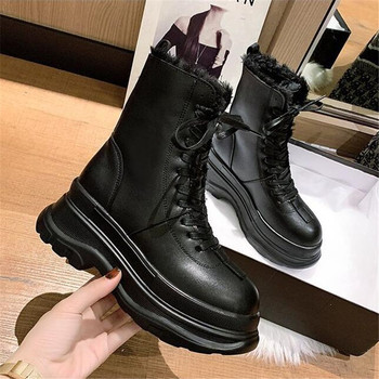 Winter Leather Boots Women Warm Fur Platform Increase 7CM Lace Up Fashion Booties Black Brown Ankle Boots Gothic Combat Boots