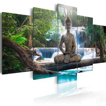 HUACAN 5pcs/set Diamond Painting 5D Buddha Religion Full Drill Square Diamond Embroidery Waterfall Cross Stitch Multi-picture 7