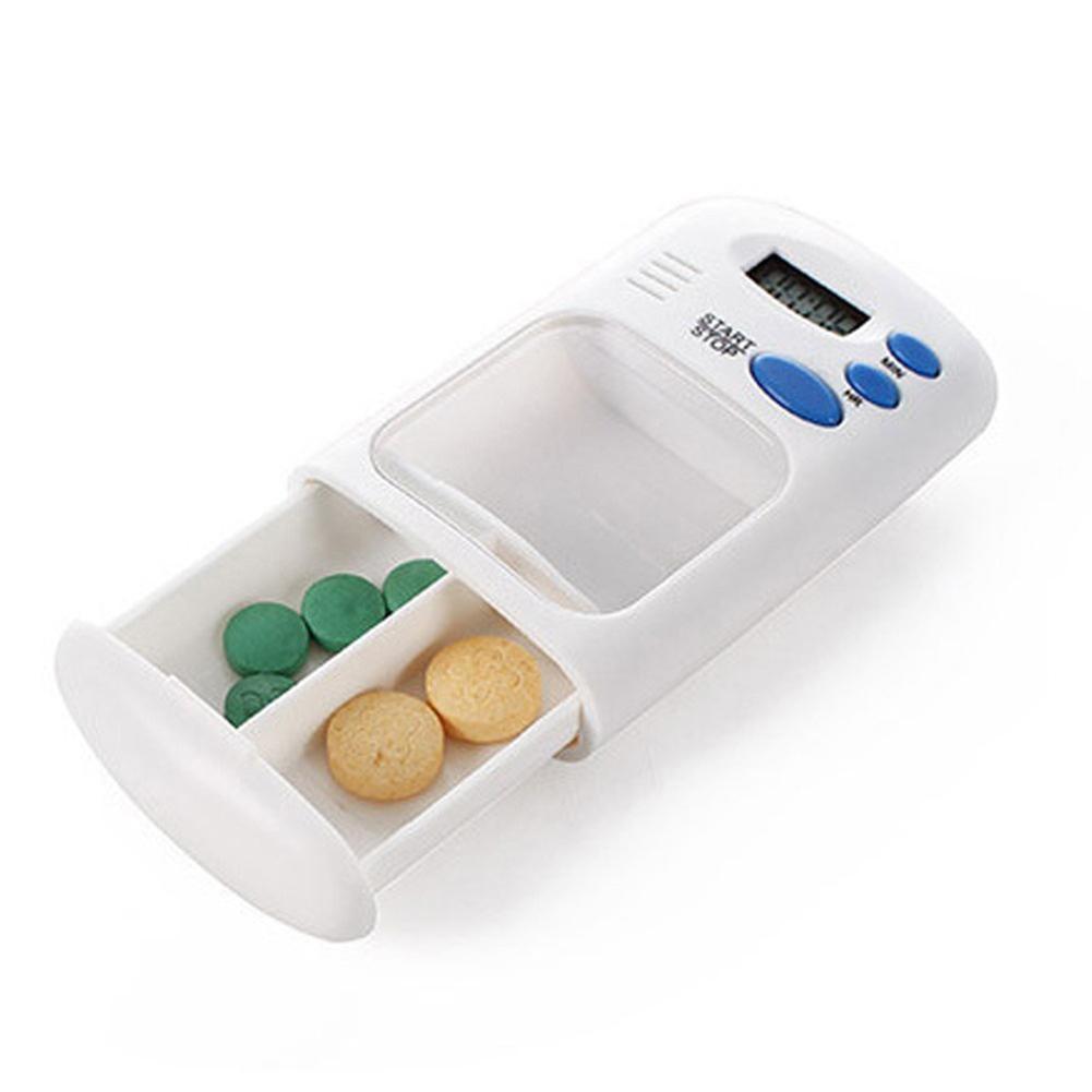 Lcd digital 2 grades de medicina elétrica pílula caixa caso tablet recipiente organizador dispensador com alarme temporizador lembrete