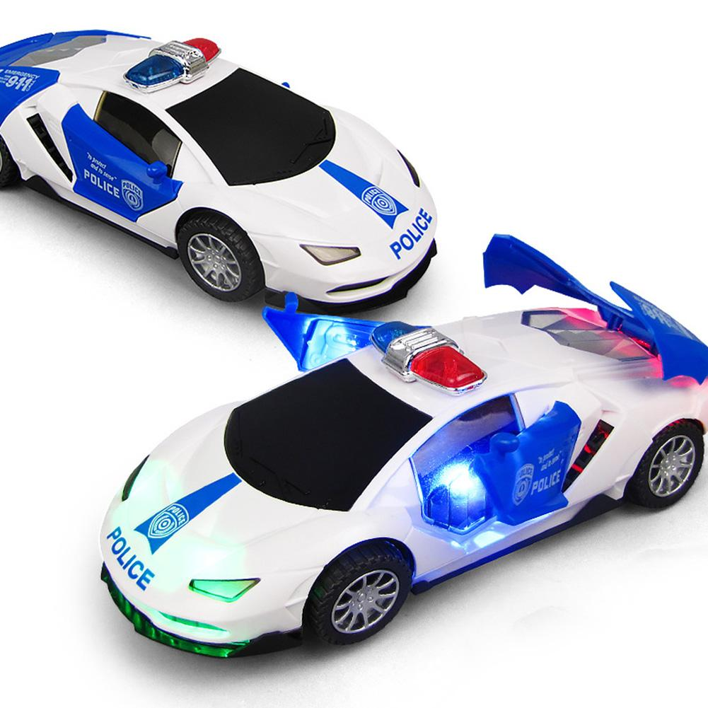 Electric 360 Rotation Police Car Vehicle With LED Music Education Toy For Kids Birthday Christmas Gift