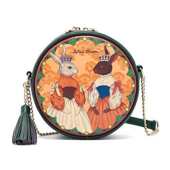 Women Bags Leather Patchwork Embroidery Messenger Bag Girl Shoulder Bags Female Bag Braccialini Style Cartoon Princess Rabbit