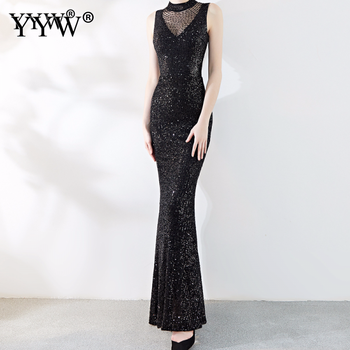 Fashion Evening Dress Black Women Sequin Dress Long Formal Dress Mesh Solid Elegant Sexy Party Mermaid Long Dresses Vestidos