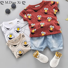 Baby Jongens Kleding Sets Leuke Zomer T-Shirt Cartoon Kinderen Jongens Kleding Pak voor Kinderen Outfit Denim Outfit Baby Boy Kleding(China)