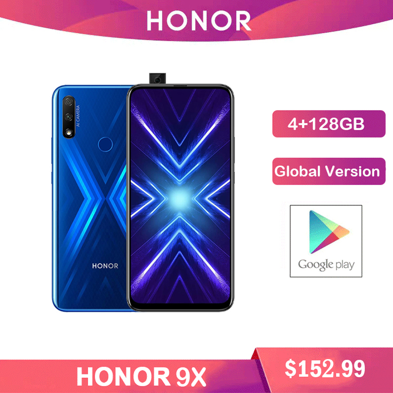 """Honre 9x 4gb 128gb smartphone versão global dupla caemra 48mp triplo 6.59 """"display fullview 4000mah bateria durante todo o dia"""