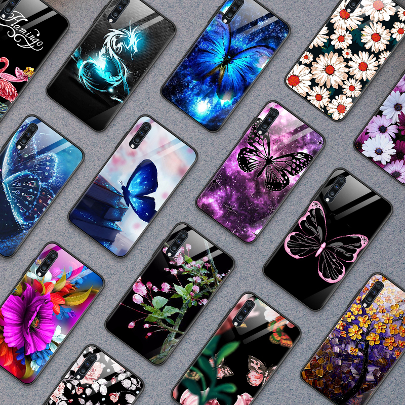 for <font><b>Samsung</b></font> Galaxy <font><b>A10</b></font> A20 A30 A40 A50 A6S A70 A8S A80 A90 Tempered <font><b>Glass</b></font> <font><b>Case</b></font> J4Plus M10 M20 M30 Note9 Flower butterfly Shell image
