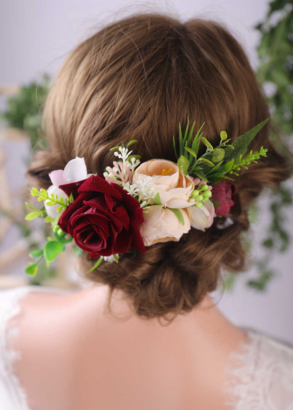 Chic Flower Hair Comb Red Rose Wedding Bridal Hair Accessories Female Glamour Classic Hair Vine Fashion Hair Pins For Women Aliexpress