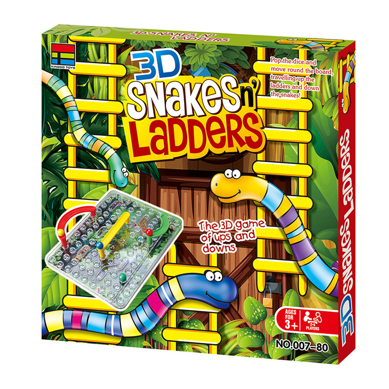 Age Fine Quality 3D Snakes And Ladders Kids Board Game Traditional Family Toy 3