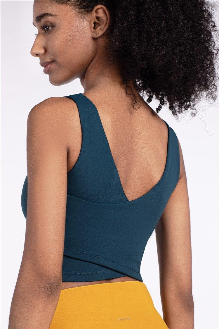 Women Sports Yoga Bra Top High Collar Sling V-neck Yoga Brassiere Fitness Sports Tank Top High Quality Female Yoga Bra Push Up