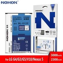 Original bateria nohon para lg g4 g3 g5 v10 google nexus 5 BL 53YH BL 51YF BL 42D1F BL 45B1F BL T9 ferramenta de substituição de alta capacidade