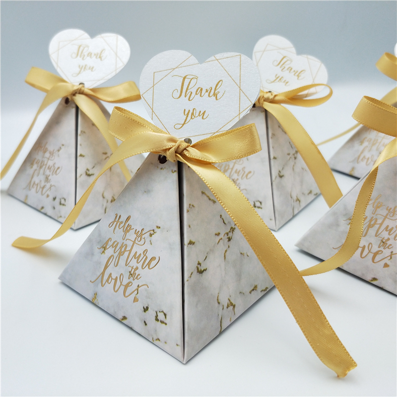 Triangular Pyramid Gift Box Wedding Favors And Gifts Candy Box Wedding Gifts For Guests Customized Wedding Decoration