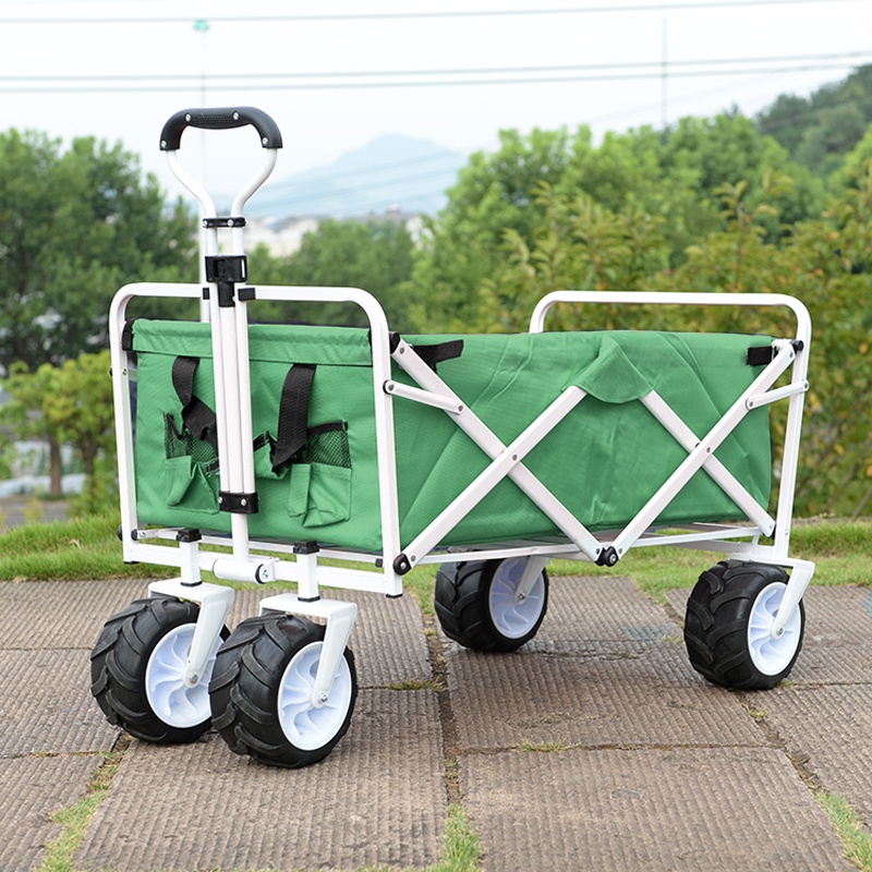 Outdoor Beach Bike Trailer Port Oxford Cloth Shopping Cart With 7 Inch PU Wheels Camping Cart Folding Wagon image