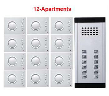 Edificio de alta calidad 2-cableado manos libres teléfono interior prensa directa tecla audio intercomunicador timbre sistema de teléfono de puerta para 12 apartamento