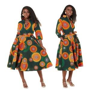 2021 New Style African Dresses For Women Vetement Femme Print Africa Shirt Dress African Clothes Dashiki Ankara Dresses Ladies