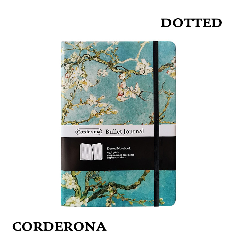 Dot Grid Bullet Journal Hard Cover A5 Van Gogh Painting Starry Night Notebook Simple Dotted Bujo
