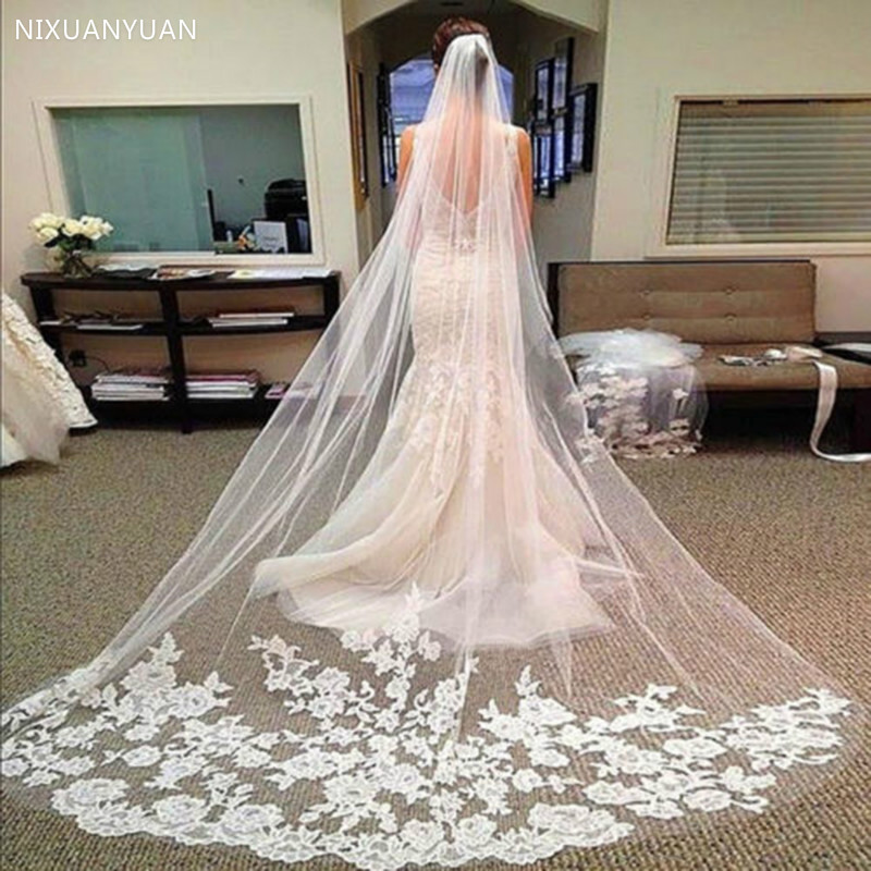 Wholesale 3M One Layer Lace Edge White Ivory Catherdal Wedding Veil Long Bridal Veil Cheap Wedding Accessories Veu De Noiva