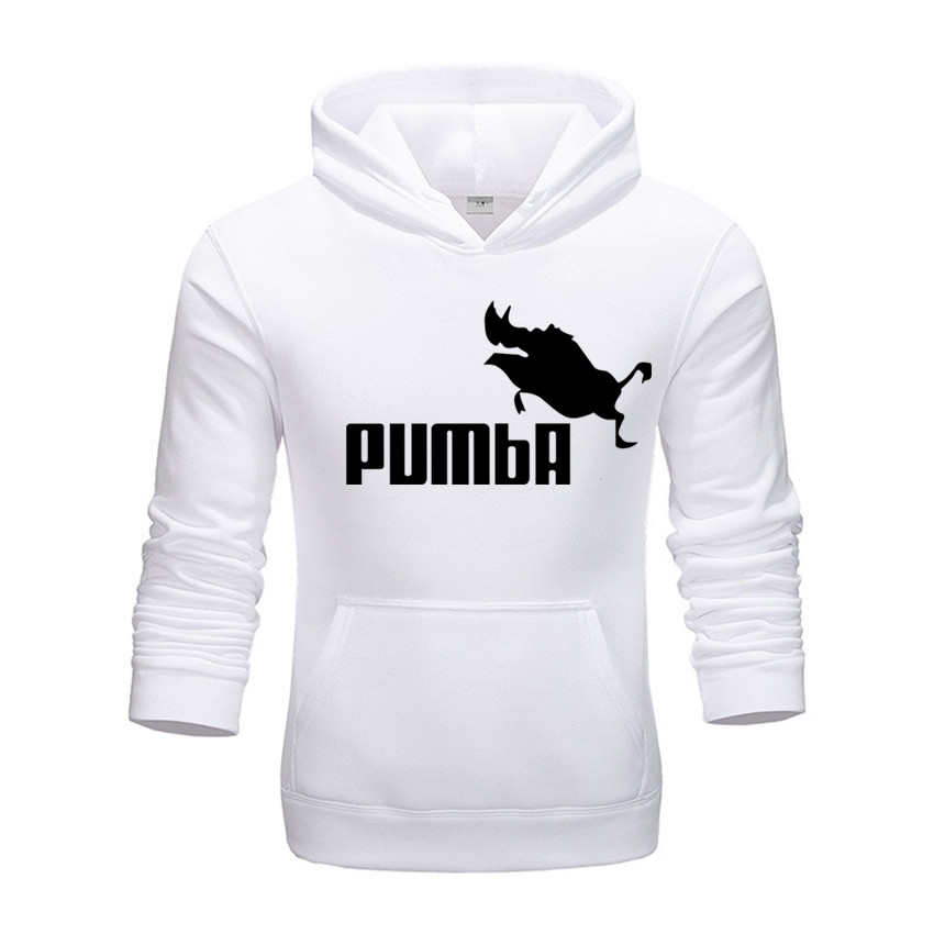 Brand Men's Hoodies 2019 Autumn Winter Costume Pumba Sweatshirts Funny Male Clothing Cotton Hip Hop Tops Fashion Pullovers White