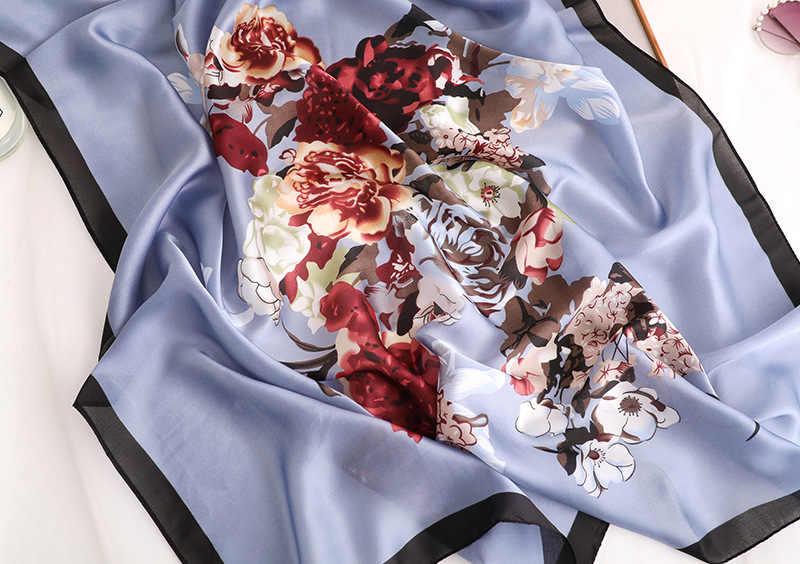 2020 Nuovo di Marca Sciarpa di Seta per Le Donne Cachi Stampa Scialli E Impacchi Stampato Floreale Femme Hijab Foulard Sciarpe