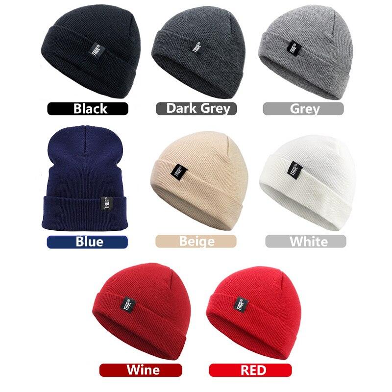Letter True 10 Colors Casual Beanies For Men Women Fashion Knitted Winter Hat Solid Hip Hop Skullies Hat Bonnet Unisex Cap