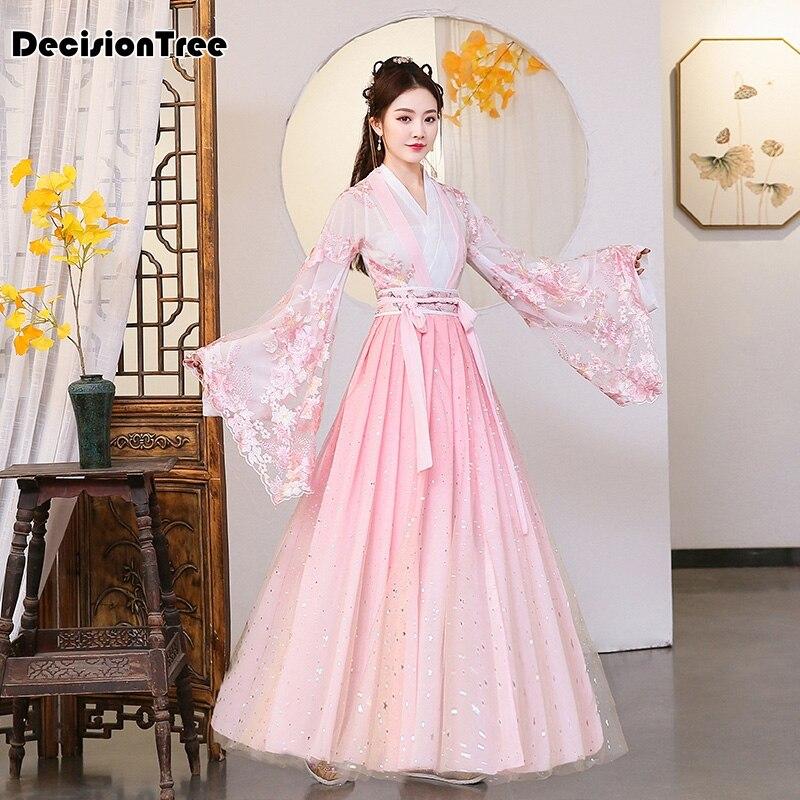 2020 Chinese Traditional Women Hanfu Dress Fairy Princess Dresses Hanfu Folk Dance Clothing Tang Dynasty Ancient Costume