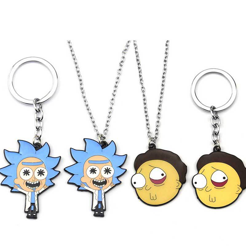 Anime Rick And Morty Cosplay Prop Accessories Metal Keychain Key Ring Necklace Pendant Jewelry