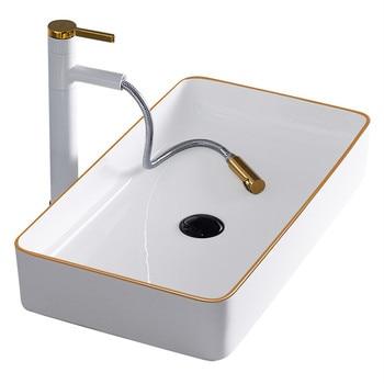 Gold Bathroom Sink Bowls Above Counter Basin White Art Basin Sink Light Luxury European Style Wash Basin Ceramic jingde ceramic bathroom wash basin art basin ellipse gold purple