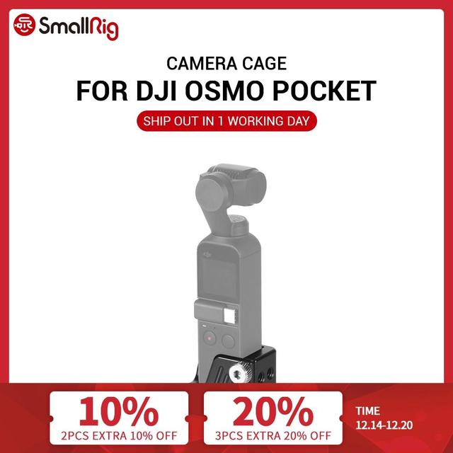 """SmallRig Osmo Cage for DJI Osmo Pocket Features a 3/8"""" 16 and nine 1/4"""" 20 threaded holes for Camera Tripod Attachment  CSD2321"""