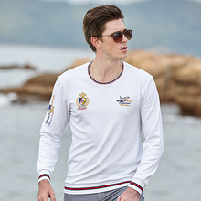New Men T-shirt All years Wear  Long Sleeve Thicken Cotton Top quality Nice Embroidery  Round T-Shirt Fashion Smart Bruce&Shark
