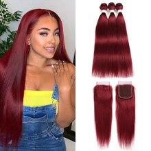 99J/בורדו אדום בצבע שיער טבעי Weave חבילות עם סגירת תחרה 4x4 ברזילאי ישר ללא רמי שיער ערב תוספות X TRESS