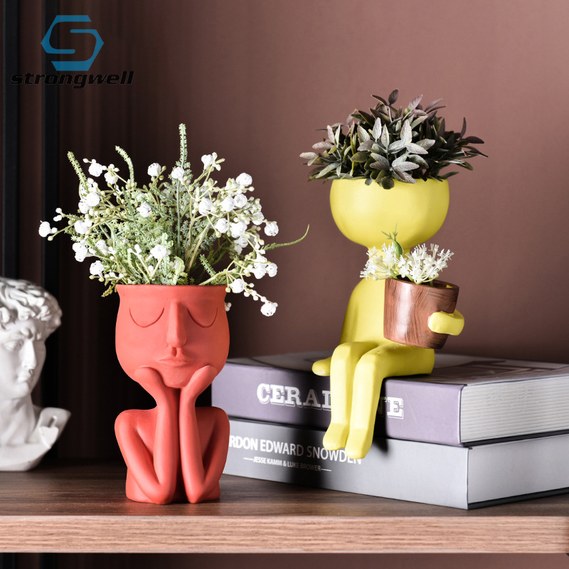 Strongwell Sitting Doll Figurines Flower Pots Succulent Planter Holder Flowerpots Fairy Garden Home Decoration Desktop Decor