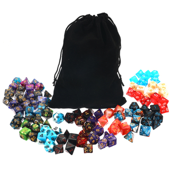105 Pcs/Set Polyhedral Dice With Bag D4 D6 D8 D10 D10 D12 D20 Side For Cube Party Table Board Games Leisure Dice Toys Table Game acrylic 10 side game dice green 5 pcs