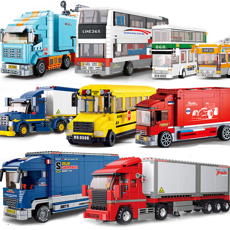 School Bus Truck Compatible Legoed City Car Vehicle Friends Wagon Lorry Cargo Van Automobile Models Sets Building Blocks Toys