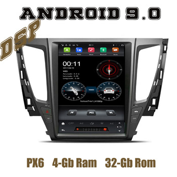 12.1 IPS DSP PX6 Tesla Style android 9.0 car radio gps player for mitsubishi pajero sport 2017 2018 2019 with wifi usb 4+32G image