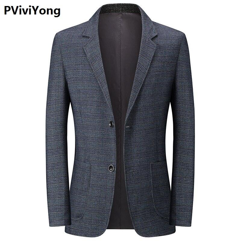 PViviYong 2019 New Mature Men Slim High Quality Suit Blazer Jacket Two Button Lapel Casual Long Sleeve Top Size M-XXXL 1928