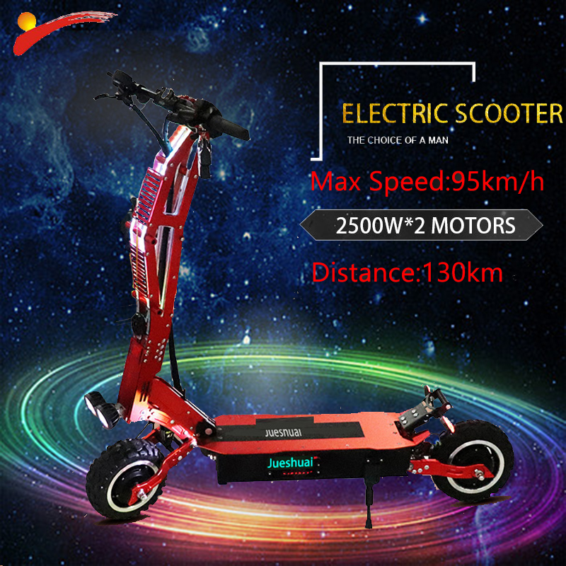 Unparalleled 95km/h 11inch Off Road <font><b>Electric</b></font> Scooter Adult 60V <font><b>5000W</b></font> Foldable E Scooter <font><b>Electric</b></font> <font><b>Bicycle</b></font> Hoverboad Escooter image