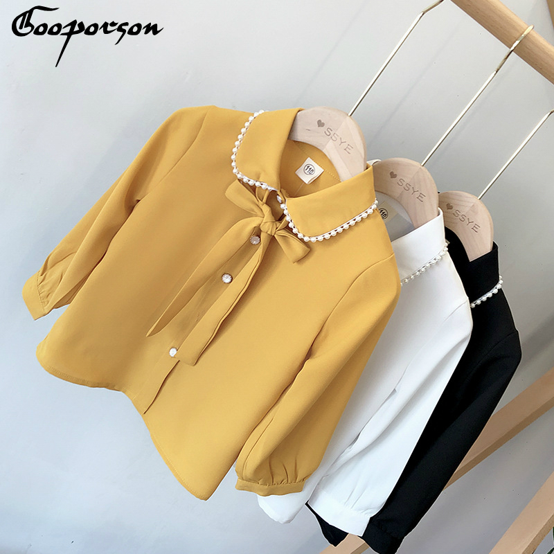 Girls Fashion Chiffon Blouse Shirt Long Sleeve Autumn Spring Tops Children Outfits Solid Shirt For Kids Girl Casual Clothing3-7y