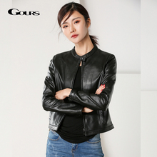 Jackets Motorcycle Genuine-Leather Women's Coats Black Fashion Spring Classic Short Sheepskin