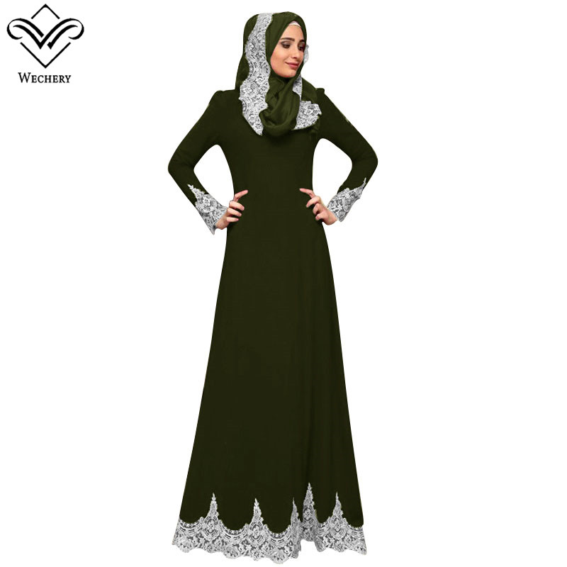Wechery Muslim Women Dresses Long Sleeve Abaya Dubai Islamic Muslim Dress Black Long Robes Embroidery Lace Hem Arab Dresses Women Women's Abaya Women's Clothings cb5feb1b7314637725a2e7: Amy green|Wine red|black|Green|Purple