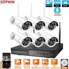 6CH 1080P Audio FHD bezprzewodowy zestaw monitoringu NVR P2P 1080P kryty odkryty IR noktowizor bezpieczeństwa 2.0MP Audio kamera IP WIFI System CCTV