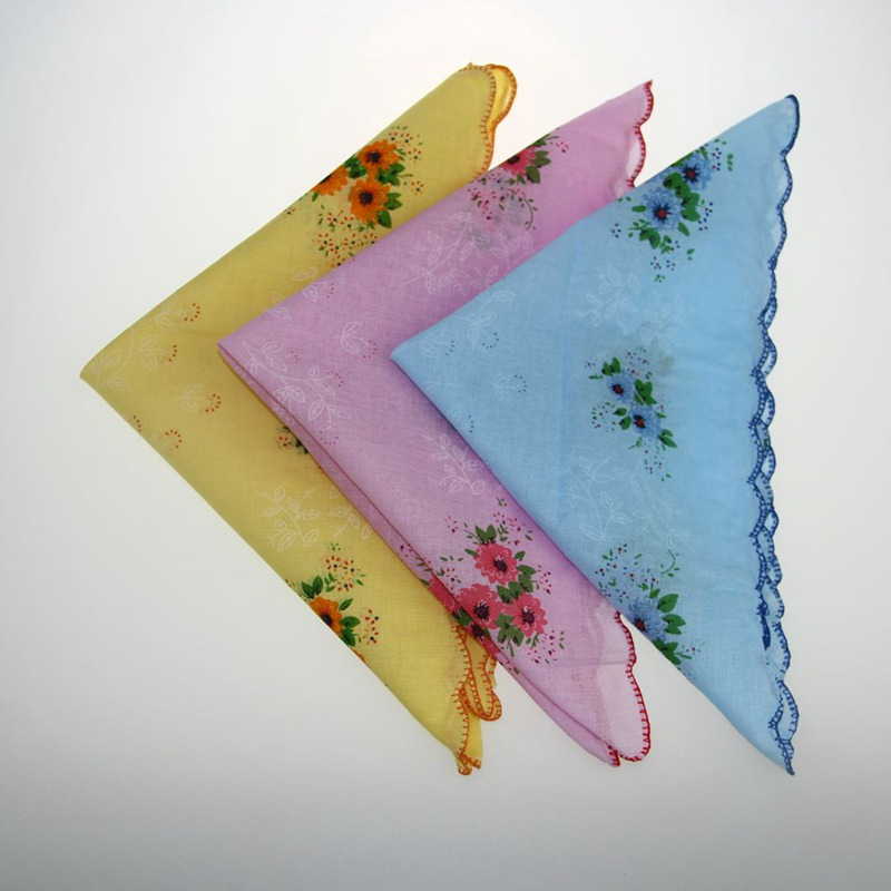 5Pcs Retro Style Flowers  Birds Handkerchief Lady Cotton Printing Old-Fashioned Tooth Handkerchief 30*30 ZXY9540