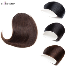 S-noilite 10x12cm Human Hair Oblique Bangs Small Side Fringe Gradient Bangs Straight Clip In Hair Extension Non-Remy Human Hair