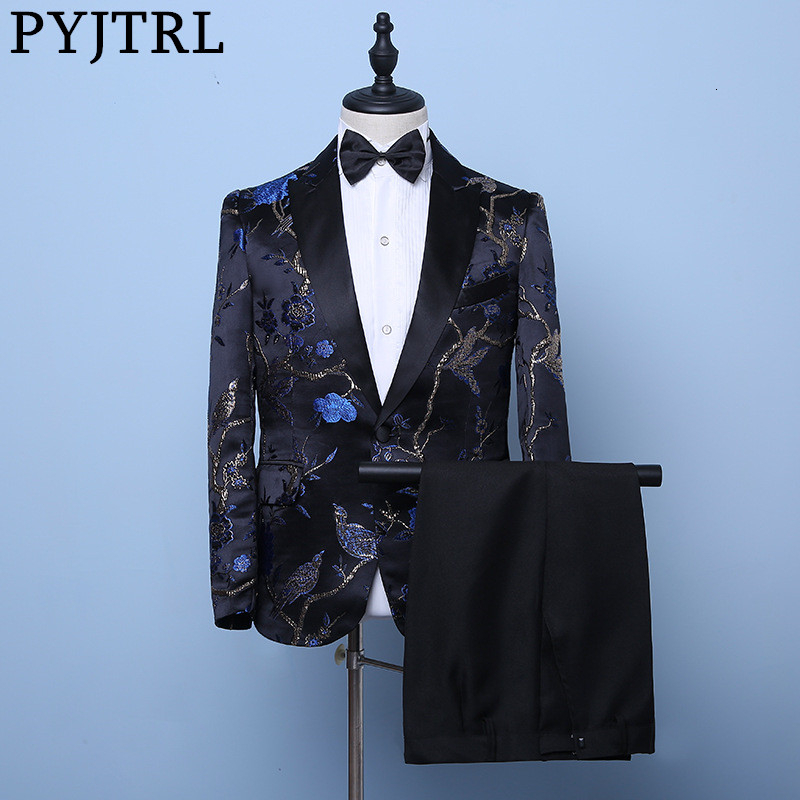 PYJTRL Mens Stylish Royal Blue Embroidery Birds Floral Pattern Suits Wedding Groom Slim Fit Tuxedo Stage Singer Costume Homme