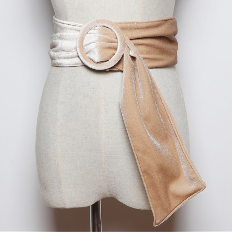 LANMREM 2020 Korean Version Of The Wild Round Buckle Velvet Girdle Simple With Skirt Shirt Decorative Wide Belt PC206